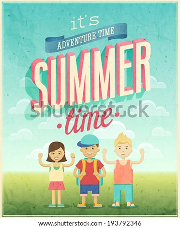 Summer Adventure poster. Vector illustration. - stock vector