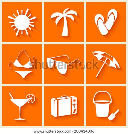 Summer and beach icons in flat style on orange background. Vector illustration - stock vector
