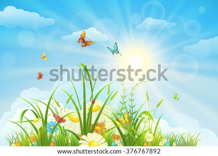 Summer and spring landscape, meadow with flowers, blue sky and butterflies - stock vector