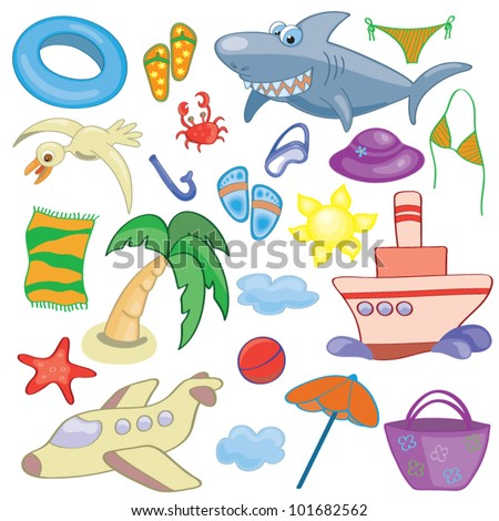 Summer and travel elements for your design - stock vector