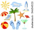 Summer and travel symbols vector set in cartoon style. No effects or gradients. - stock vector