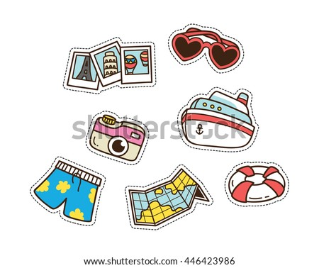 summer and travel themed cute patch isolated on white background - stock vector