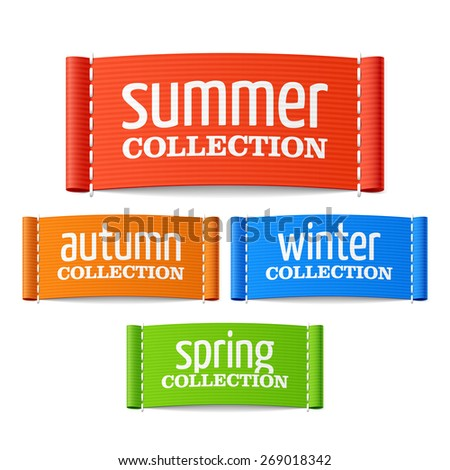 Summer, autumn, winter and spring collection labels. Vector. - stock vector