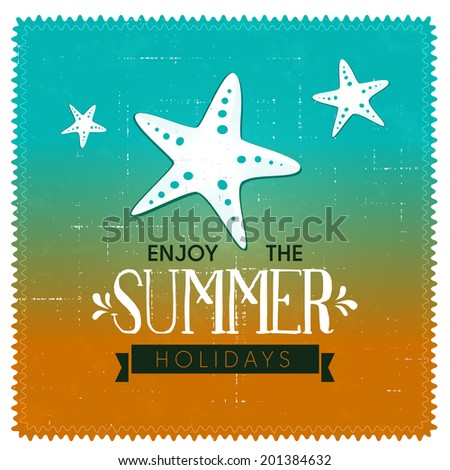 Summer background design with starfish. - stock vector
