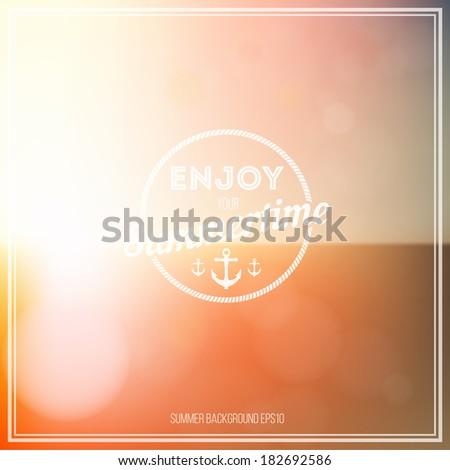 Summer background. Enjoy summertime - summer typography - stock vector