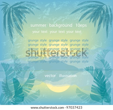Summer background in vintage style, raster version - stock vector