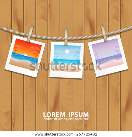 Summer background. Photo frames with tropical sea and beach. EPS10 vector - stock vector
