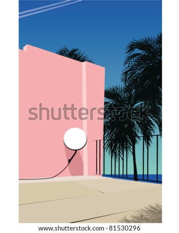 Summer background scene - stock vector