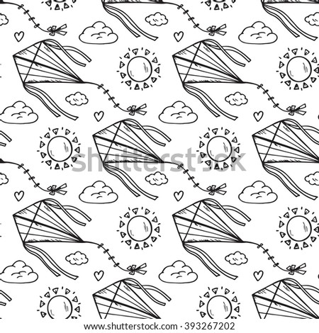 Summer background. Sky Seamless pattern. Hand drawn doodle kite flying, sun, clouds. Background for kids. Children's wallpaper. Black and white - stock vector
