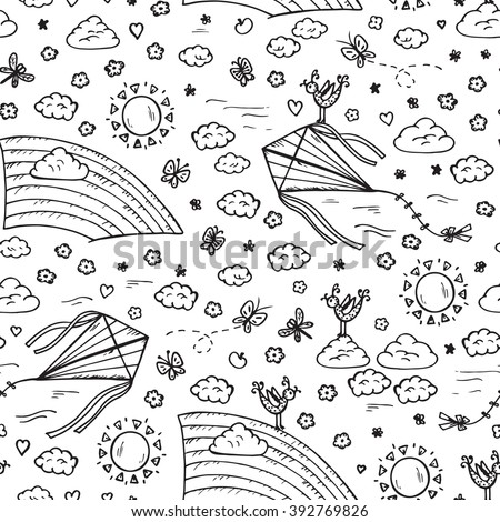 Summer background. Sky Seamless pattern. Hand drawn doodle Rainbow, kite flying, sun, clouds. Background for kids. Children's wallpaper - stock vector