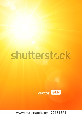 Summer background with a magnificent summer sun burst with lens flare. Space for your text. EPS10 - stock vector