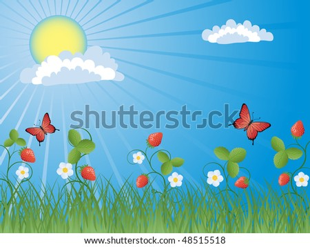 Summer background with a strawberry. Vector illustration.