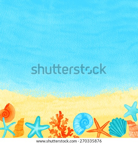 Summer background with beach accessories. Vector illustration. Global color used.