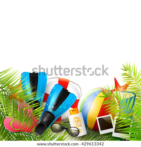 Summer background with beach ball, sunglasses, palm leaves, diving fins, flip-flops, safety circle and bucket on white background.