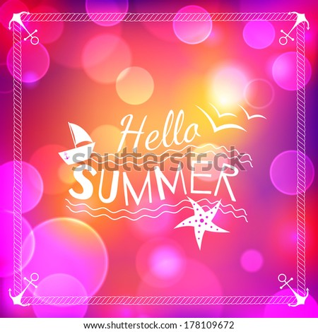 Summer background with bokeh - stock vector