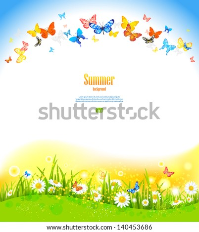 Summer background with butterflies and flowers - stock vector