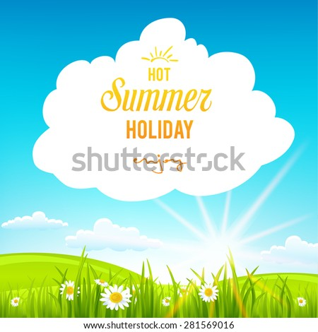 Summer background with clouds. Place for text.  - stock vector