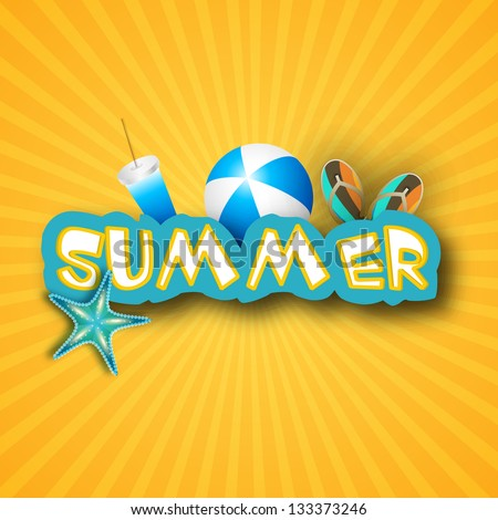 Summer background with flip flops, ball, starfish and drink. - stock vector