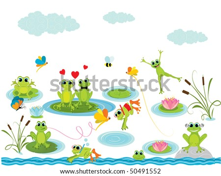 summer background with frogs - stock vector