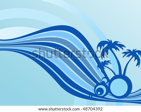 summer background with palm tree and rainbow - stock vector