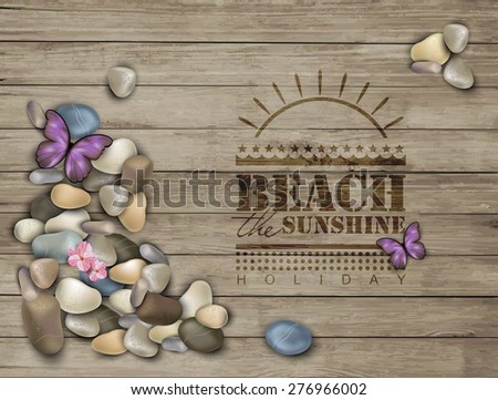 Summer background with pebbles on a wooden texture.  Pebble stones. - stock vector