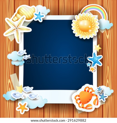 Summer background with photo frame and shells, vector illustration