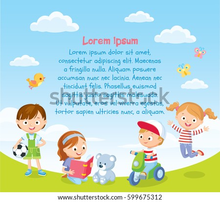 Summer background with playing kids