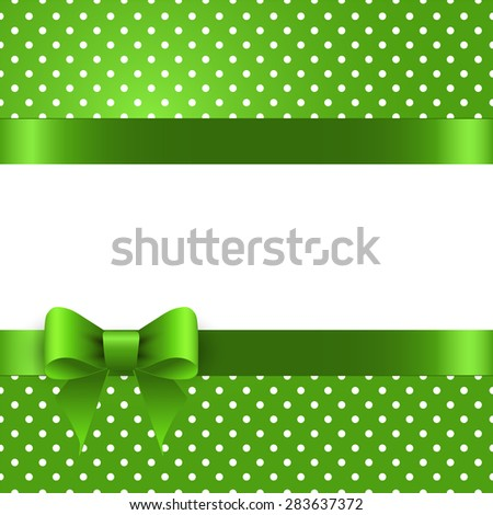 Summer background with polka dots, with a green bow - stock vector
