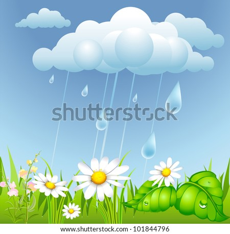 summer background with rain, cloud and flowering meadow - stock vector