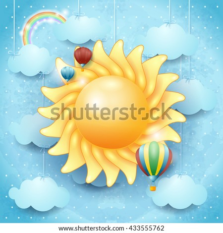 Summer background with sun and hot air balloons. Vector illustration