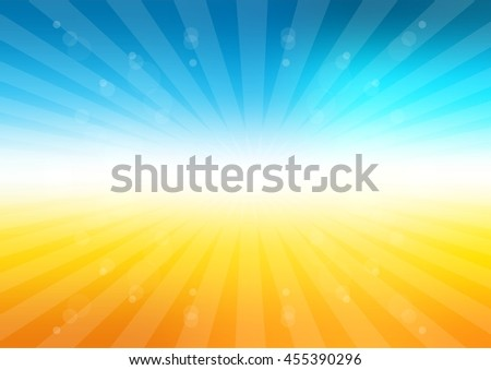 summer background with sun rays. Bright sky and light particles