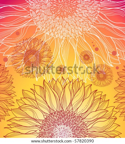 summer background with sunflowers - stock vector