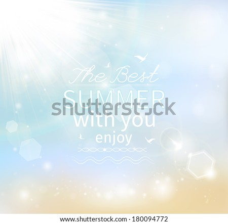 Summer background with the sun and the sea, vector - stock vector