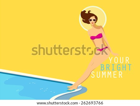 Summer background with the woman in a bright swimsuit at swimming pool. Pool party, poster, summer card design with a place for your text. Vector illustration.  - stock vector