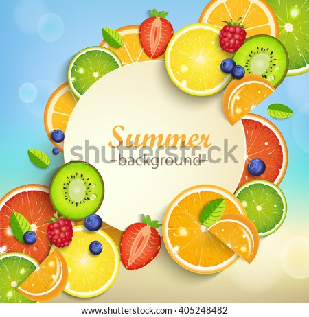 Summer background with tropical fruits and berries and round frame for the text. Vector illustration. - stock vector