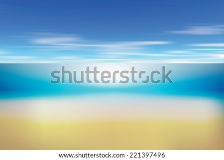 Summer background with white sand, sea and sky. Vector illustration