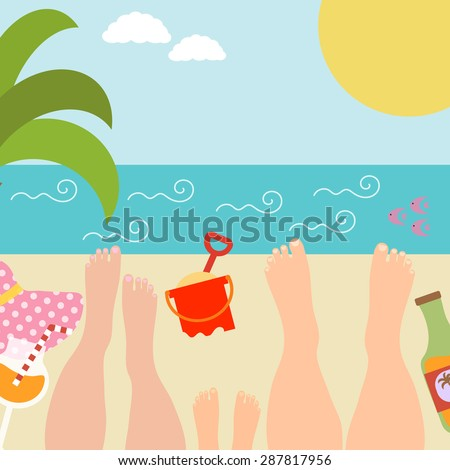 Summer background with with family at the seaside. Relax near the ocean or sea. Vector illustration - stock vector