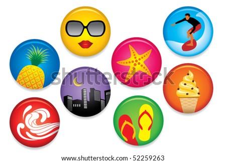 Summer Badges - stock vector