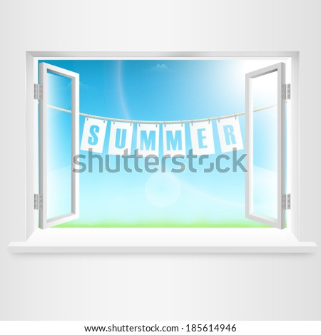 Summer Banner Hanging Out Of Window. Vector Illustration. - stock vector