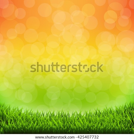 Summer Banner With Grass Border, With Gradient Mesh, Vector Illustration - stock vector