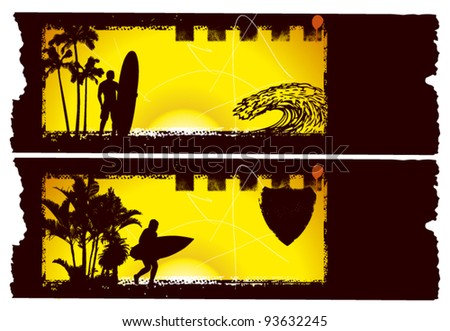 summer banner with sunset and paper background - stock vector