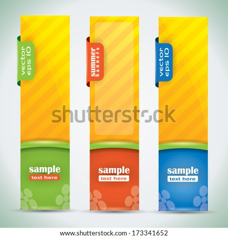 Summer banners - vector illustration with vibrant colors - stock vector