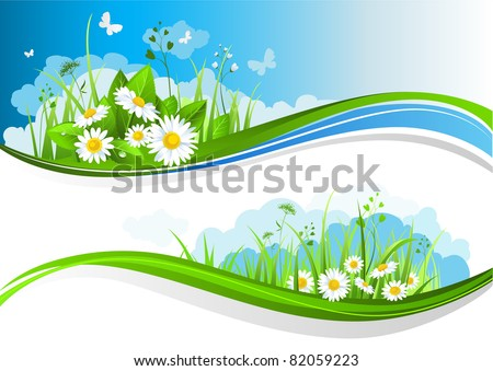 Summer banners with beautiful flowers under a blue sky - stock vector