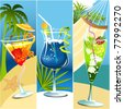 Summer banners with tropical drinks - stock vector