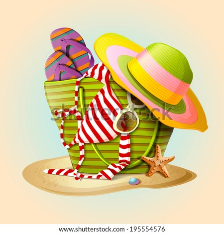 Summer beach bag and straw hat on sandy beach. Summer accessories, swimsuit, sun glasses, bag and flip-flops. Vector illustration - stock vector