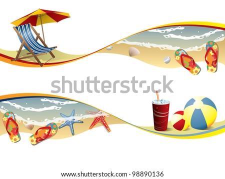 Summer beach banners - stock vector