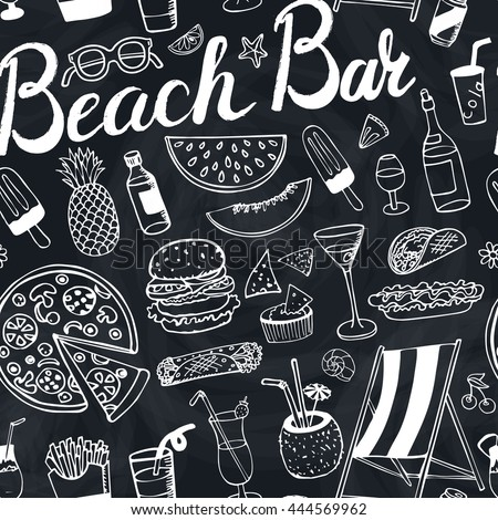 Summer.Beach bar menu.Hand drawn doodle vector seamless pattern.Cocktail advertisement.Fast food icon,drink,beverage range,fruit,juice,alcohol.Retro outline illustration.Summertime,vacation.Chalkboard