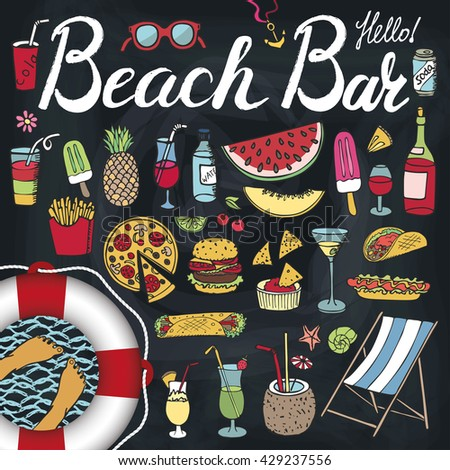 Summerbeach bar menuhand drawn doodle vector stock vektor for Food bar hands