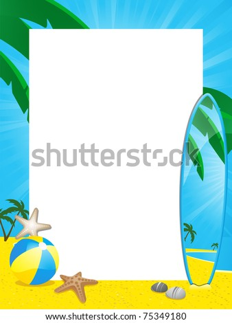 Summer Beach Border And Surfboard