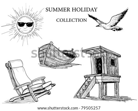 Summer beach collection of icons - stock vector